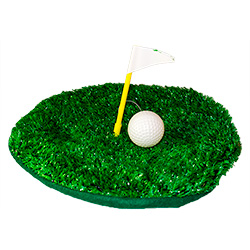 Golfing green beret with golf ball and flag