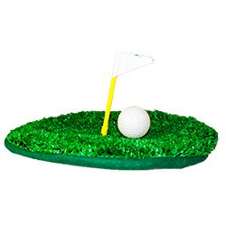 Crazy Golf beret with golf ball, green and flag
