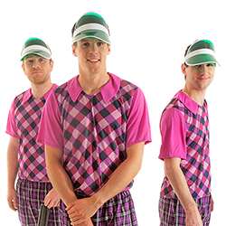 Three golfers wearing the visors