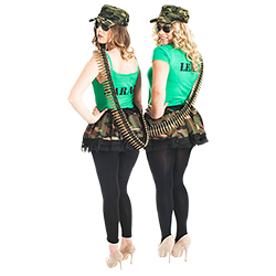 Two girls wearing the army theme