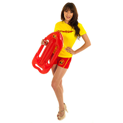 Gorgeous brunette wearing Baywatch Beach Lifeguard Costume