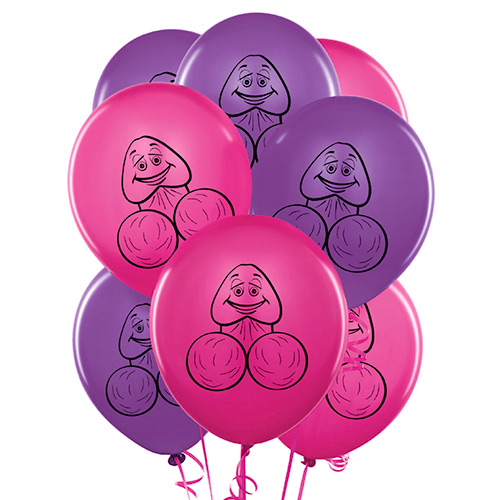 Pink and purple willy balloons