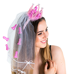 white veil with bright pink plastic willy crown worn by model