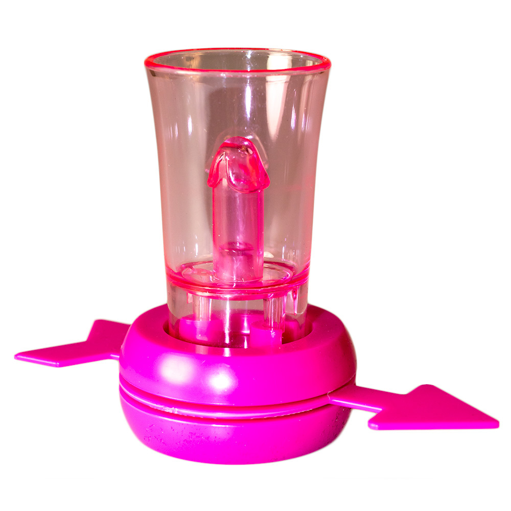 pink spinning shot glass with pecker detail
