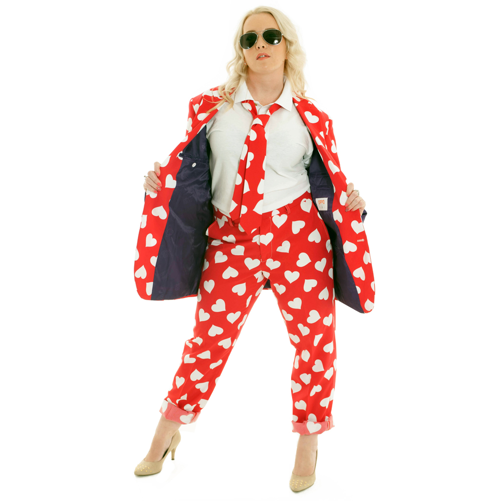 Red and White patterned suit