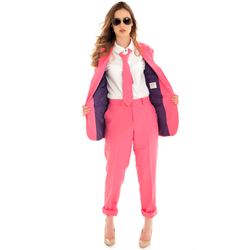 Woman in Bright Pink Suit