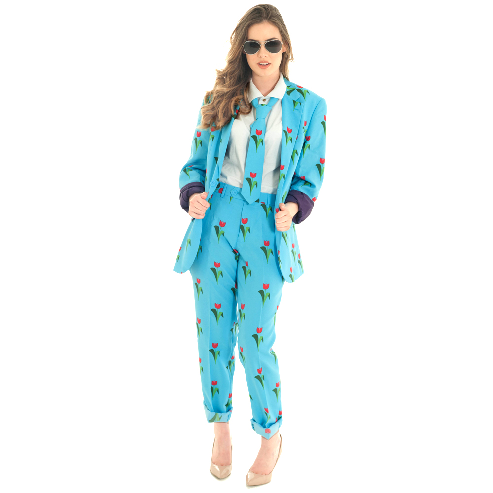 Model Wearing Tulip patterned suit