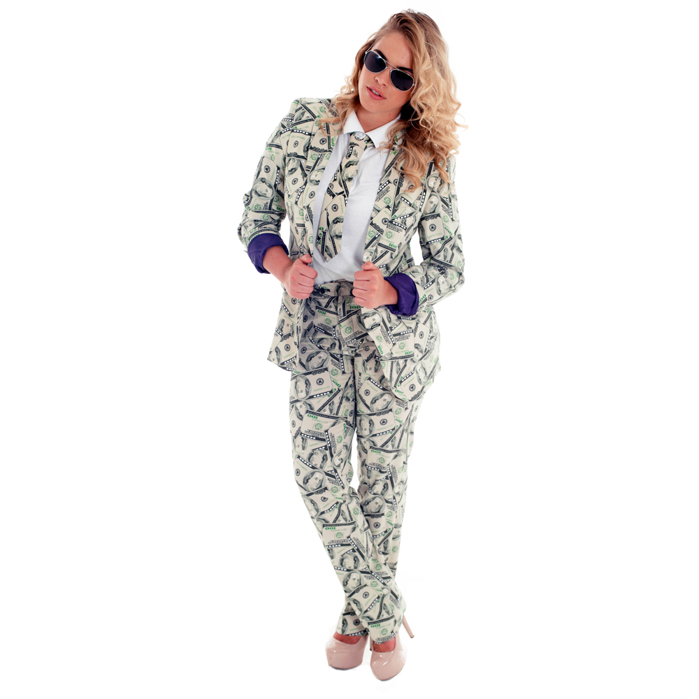 Dollar bill patterned suit