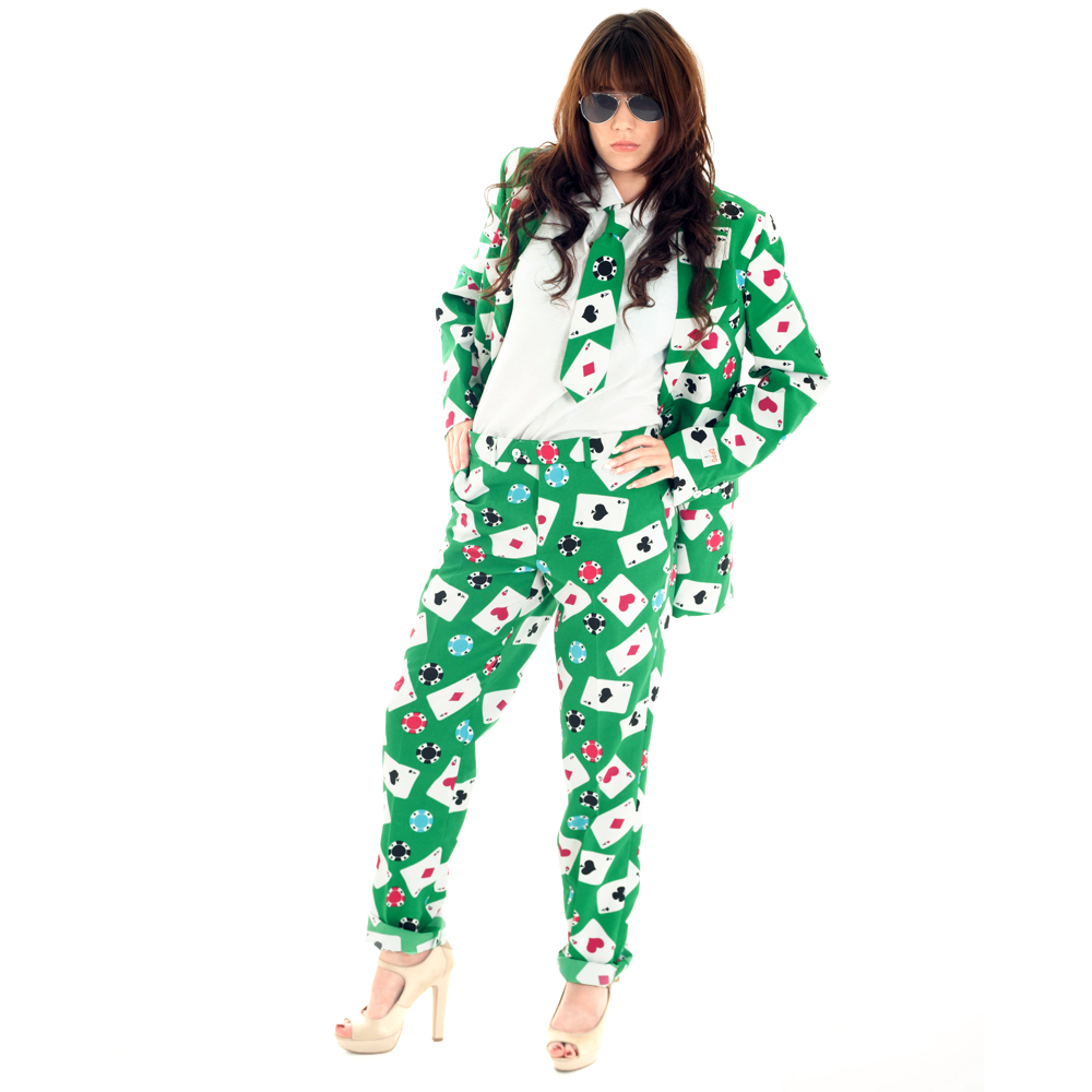 Woman Wearing Poker themed Opposuit