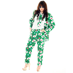 Woman Wearing Poker themed Opposuit