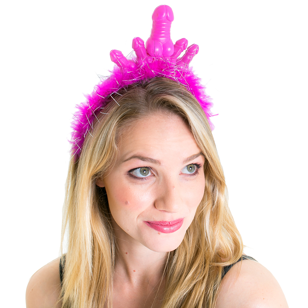 neon pink feather head band with plastic willies on the top