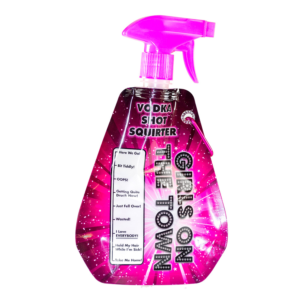 A bright pink vodka squirter