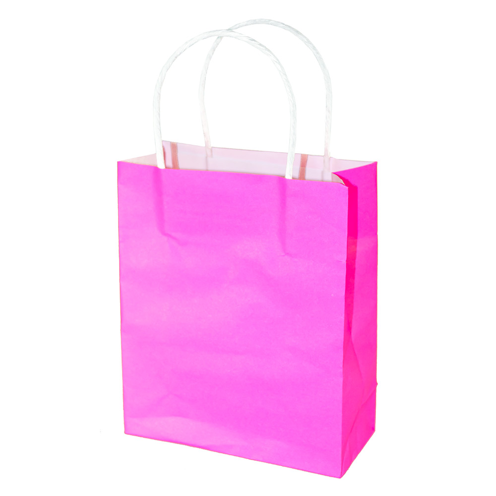 Bright pink gift bag with white handle