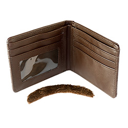 Anchorman moustahce and open brown wallet.