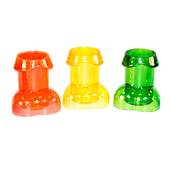 three willy-shaped shot glasses in orange, yellow and green