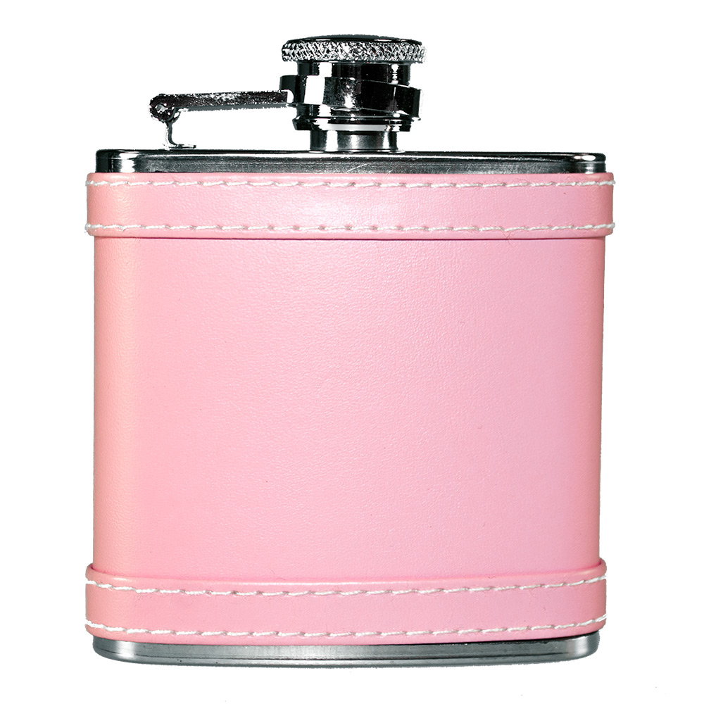 Pink hip flask against a white background