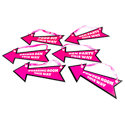 Pink and black hen party direction signs with pink ribbon