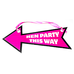 One pink and black hen party arrow direction sign - 'Hen Party This Way'