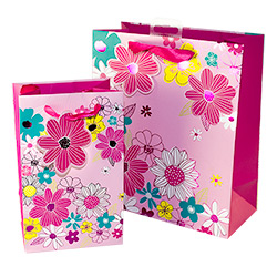 The pink flower gift bag comes in two sizes