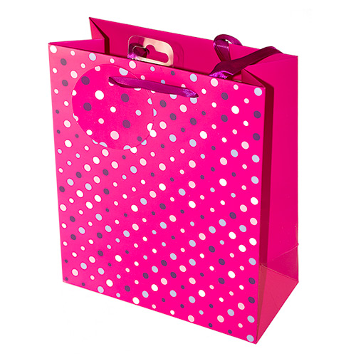 The pink spotted bag on a white background