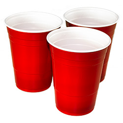 Three American Red Cups in a triangle