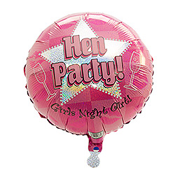 Pink holographic hen party balloon