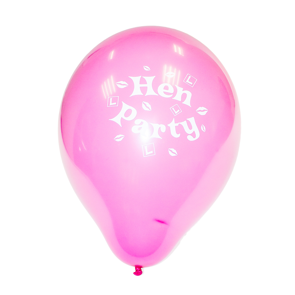 Pink hen party balloon with white writing