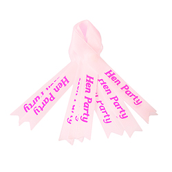 Pink 'hen party' ribbons