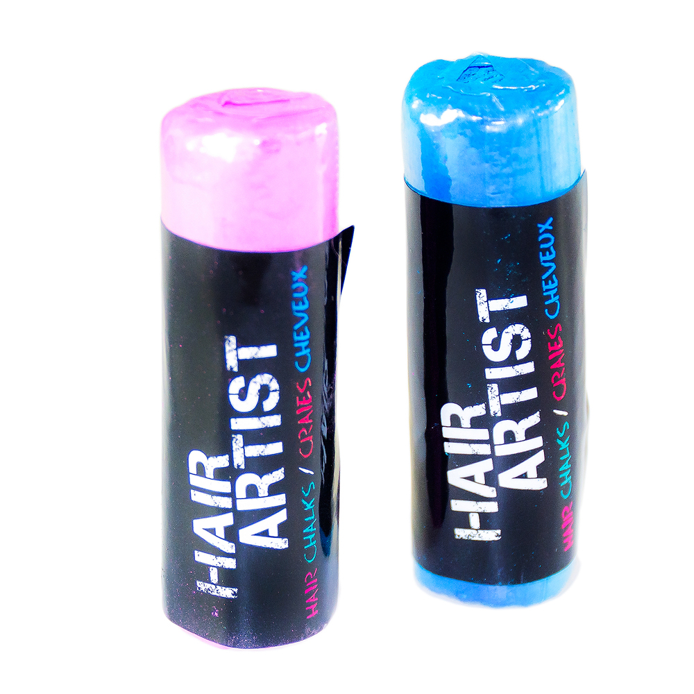 Blue and pink hair crayons