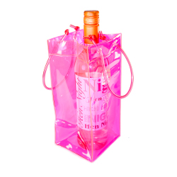 Pink Ice Bag cooling a bottle of wine