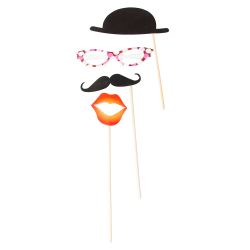 Bowler, glasses, moustache and lips