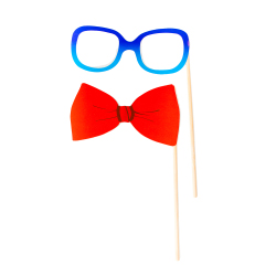 Nerdy glasses and bow tie props