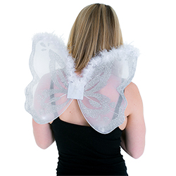White fairy wings modelled by Miss Newcastle 2015