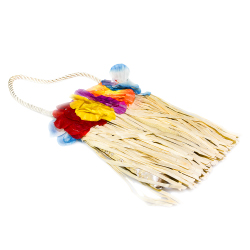 Grass hula style bag with flowers
