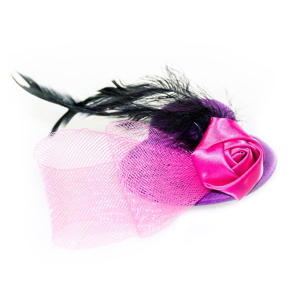 Pink and purple fascinator