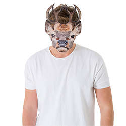 A model wearing the mask