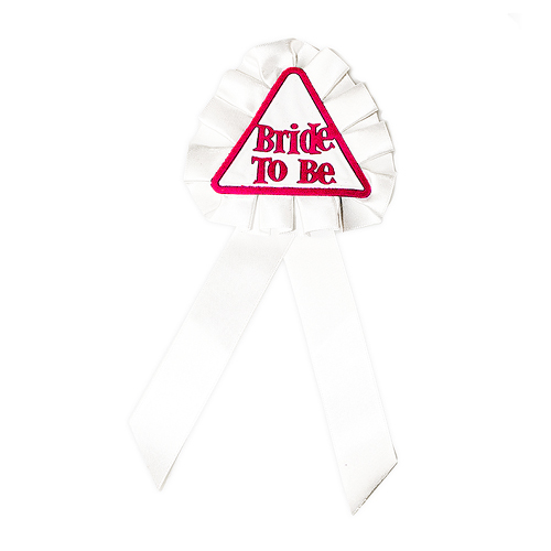 White Bride To Be rosette with pink lettering