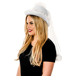 Side View Of Brides Hat With Veil