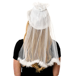 Back View Of Brides Hat With Veil