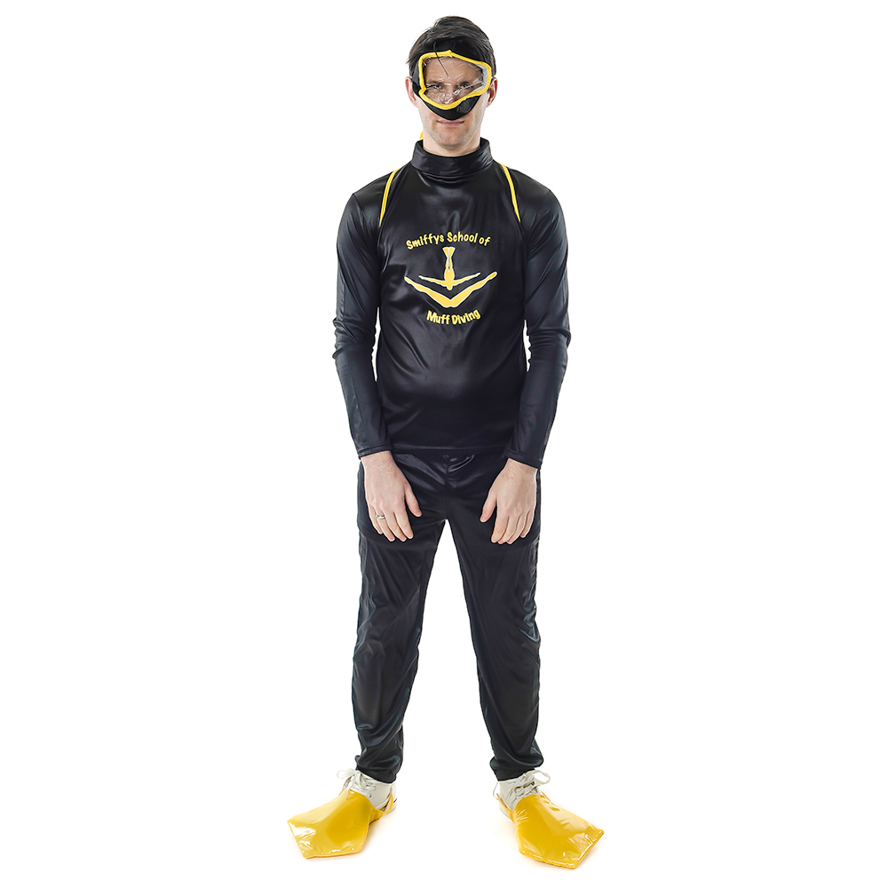 Front Facing Black and Yellow Muff Diver Costume