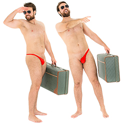 Two images of the male model in the red sidekini, with one featuring him on the front pointing and holding a suitcase and another from the side