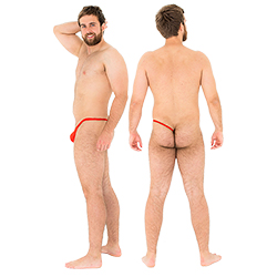 Two shots of the male model wearing the red sidekini, with one image from the back and the other from the side