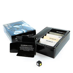 Fifty Shades of Play box contents with dice and cards