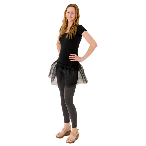A black tutu being modelled.