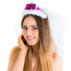 Model wearing the Bride-to-Be tiara and veil