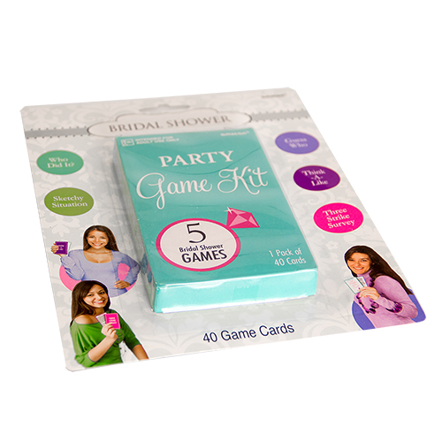 Bridal shower game in its packaging