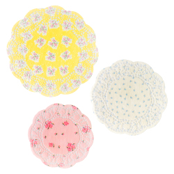 Paper lace doilies in 3 different sizes and yellow, cream and pinkfloral patterns