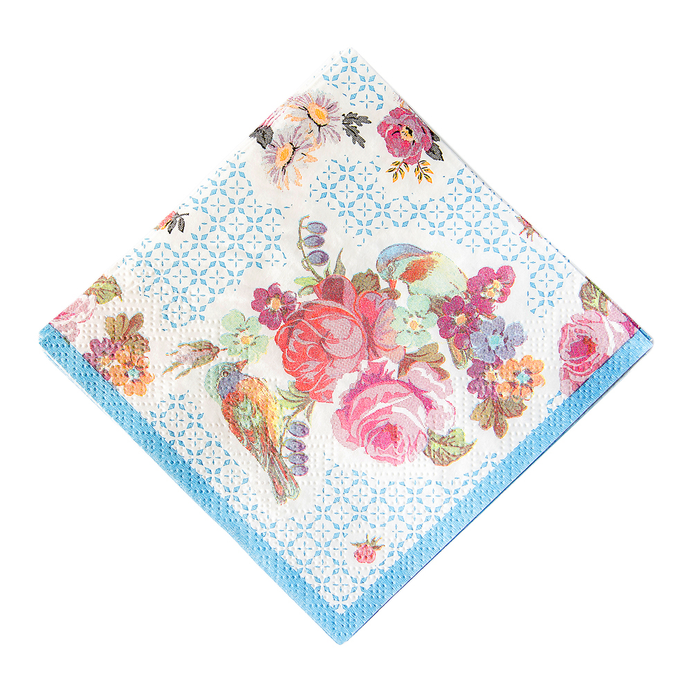 Small vintage-style floral napkin with blue border