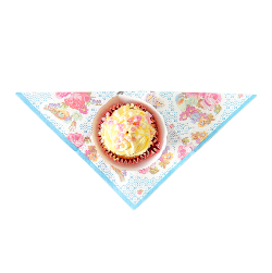 Small vintage-style floral napkins with blue border and a pretty cupcake