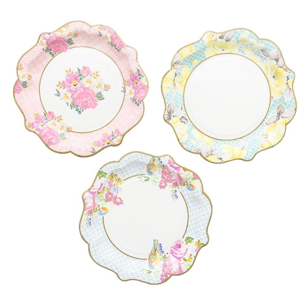 Three vintage paper plates
